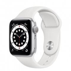 APPLE Watch S6 GPS, 44mm Silver Aluminium White Sport band pametna ura